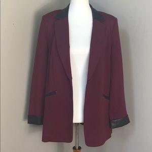 Burgundy Blazer w/ Faux Leather Trim. Size 10 NWOT